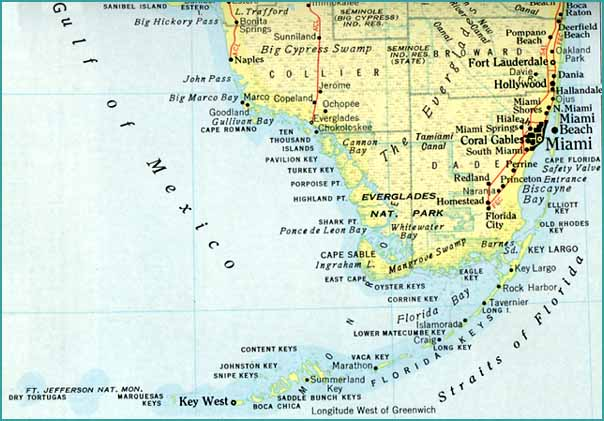 "map of florida keys islands. The ""Cayos"" or Keys that provide a tail to the map of Florida were known"